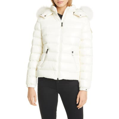 Moncler Badyfur Quilted Down Puffer Jacket With Removable Genuine Fox Fur Trim, (fits like 4-6 US) - White