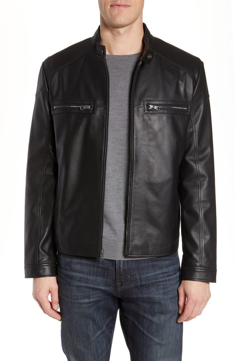 ANDREW MARC Wendell Lambskin Moto Jacket, Main, color, BLACK