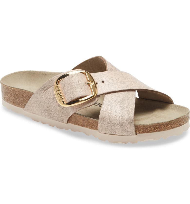 BIRKENSTOCK Siena Big Buckle Slide Sandal, Main, color, METALLIC ROSE GOLD LEATHER