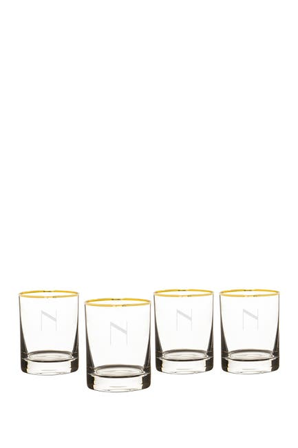 Image of Cathy's Concepts Monogram Set of 4 Double Old Fashioned Glasses - Multiple Letters Available