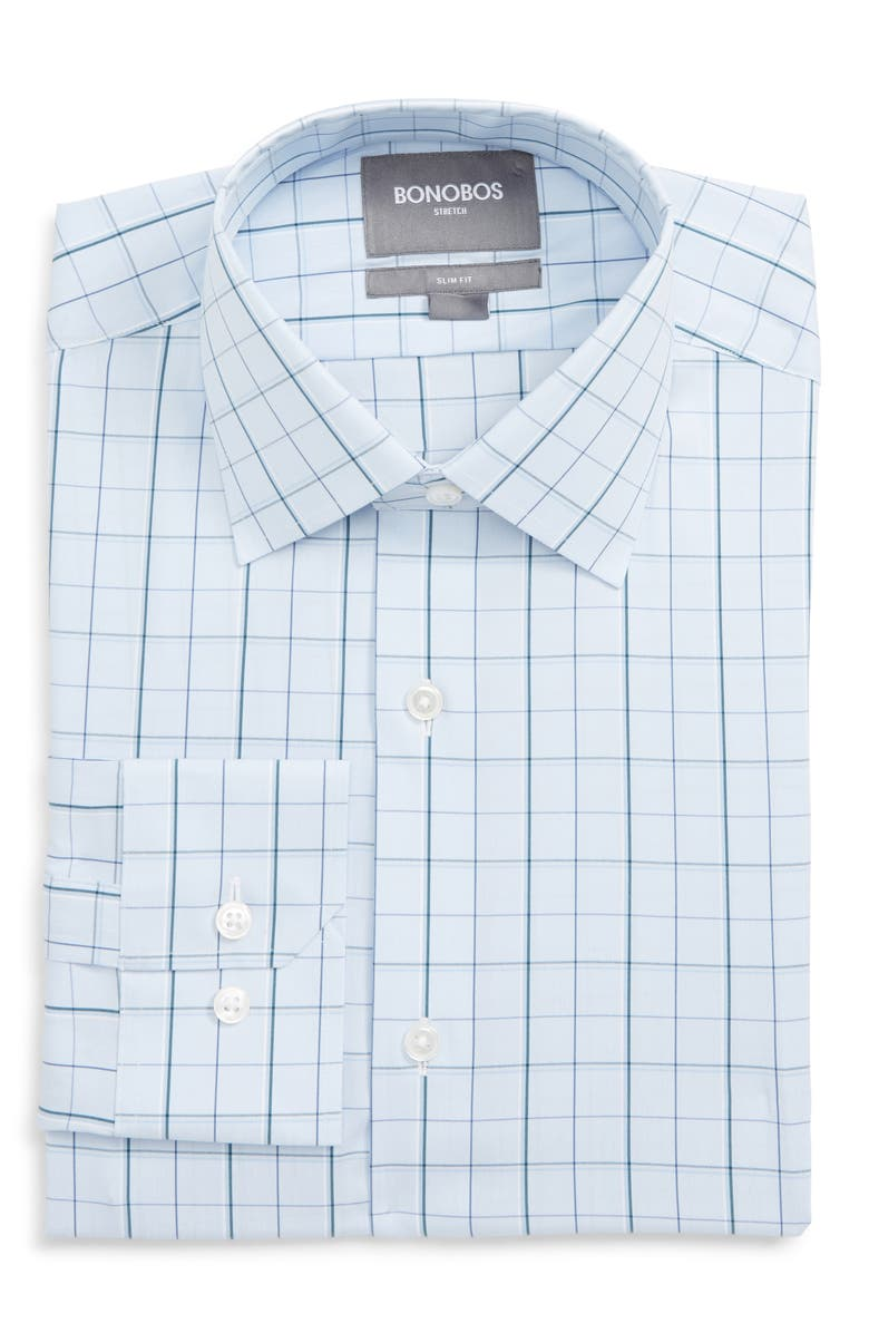 BONOBOS Jetsetter Slim Fit Stretch Check Dress Shirt, Main, color, 400