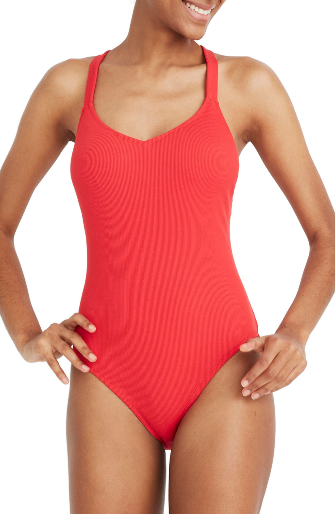 Madewell Second Wave Rib Crisscross One-Piece Swimsuit, Red