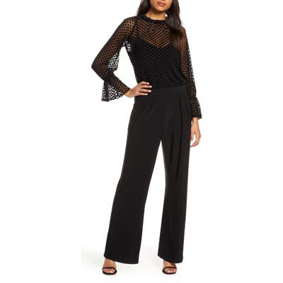 Julia Jordan Velvet Burnout Jumpsuit, Black