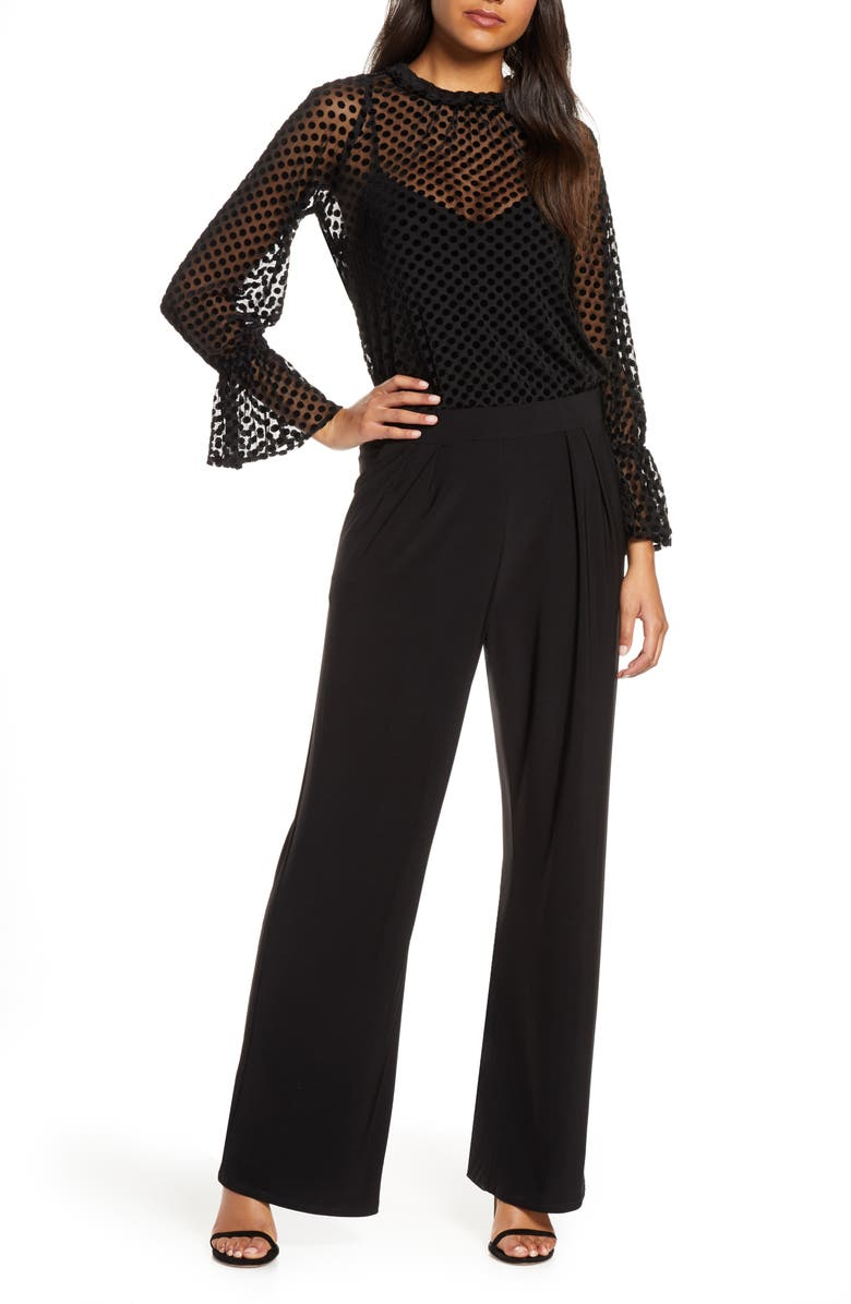 JULIA JORDAN Velvet Burnout Jumpsuit, Main, color, BLACK