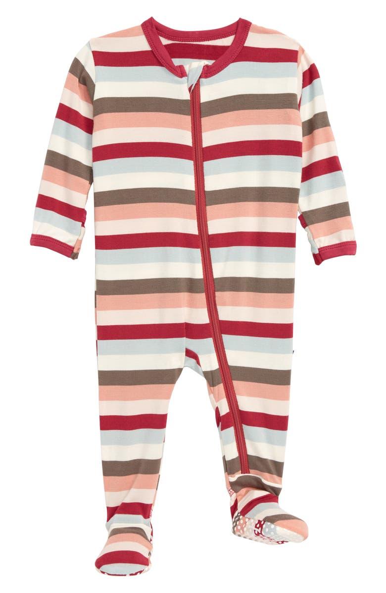 KICKEE PANTS Stripe Jersey Footie, Main, color, GEOLOGY STRIPE
