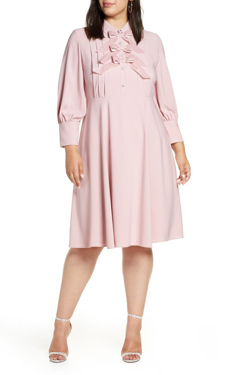 x Atlantic-Pacific Bow Detail Fit & Flare Dress