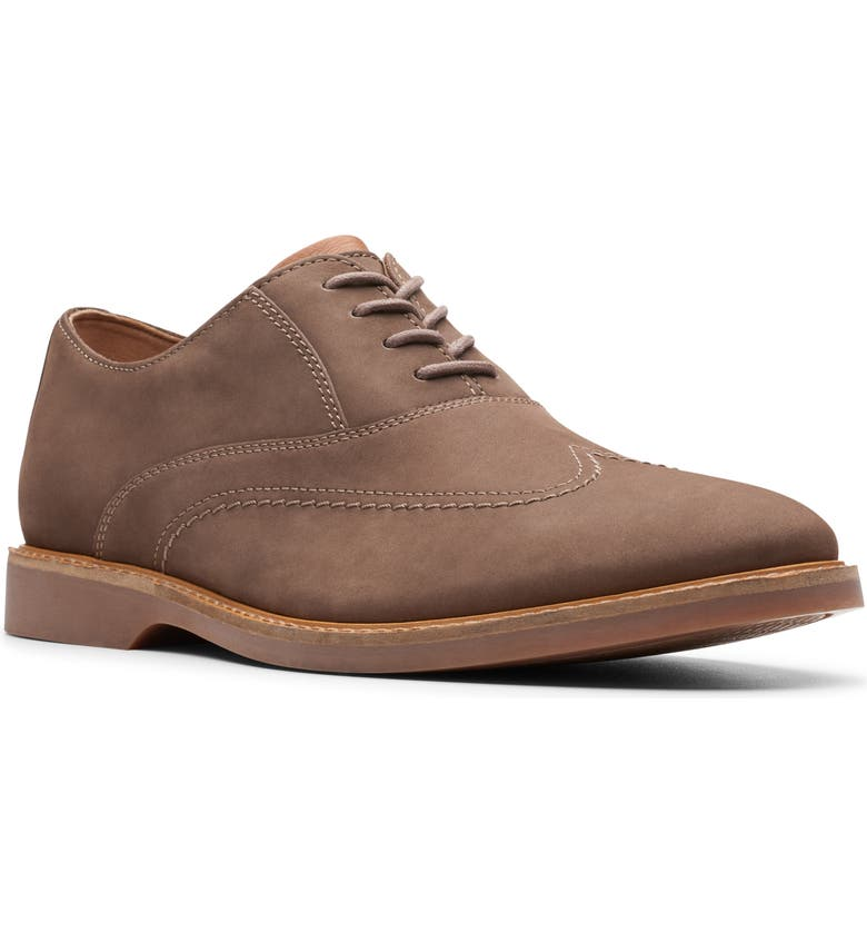 CLARKS<SUP>®</SUP> Atticus Vibe Plain Toe Oxford, Main, color, TAUPE NUBUCK