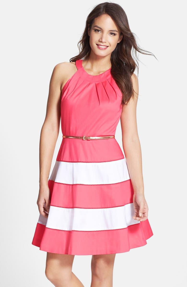 ELIZA J Stripe Sateen Fit & Flare Dress, Main, color, 951