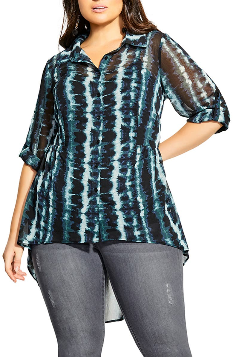 CITY CHIC Tie Dye High/Low Button-Up Shirt, Main, color, TIE DYE