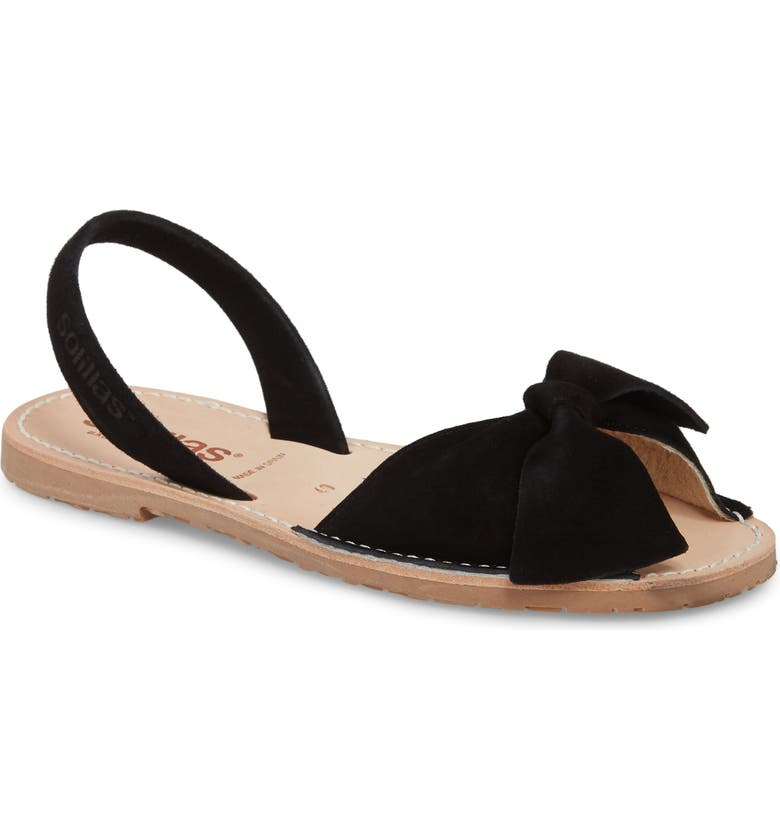 SOLILLAS Bow Sandal, Main, color, BLACK