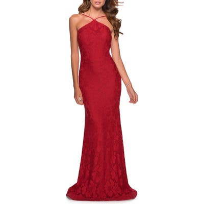 La Femme Beaded Lace Trumpet Gown, Red