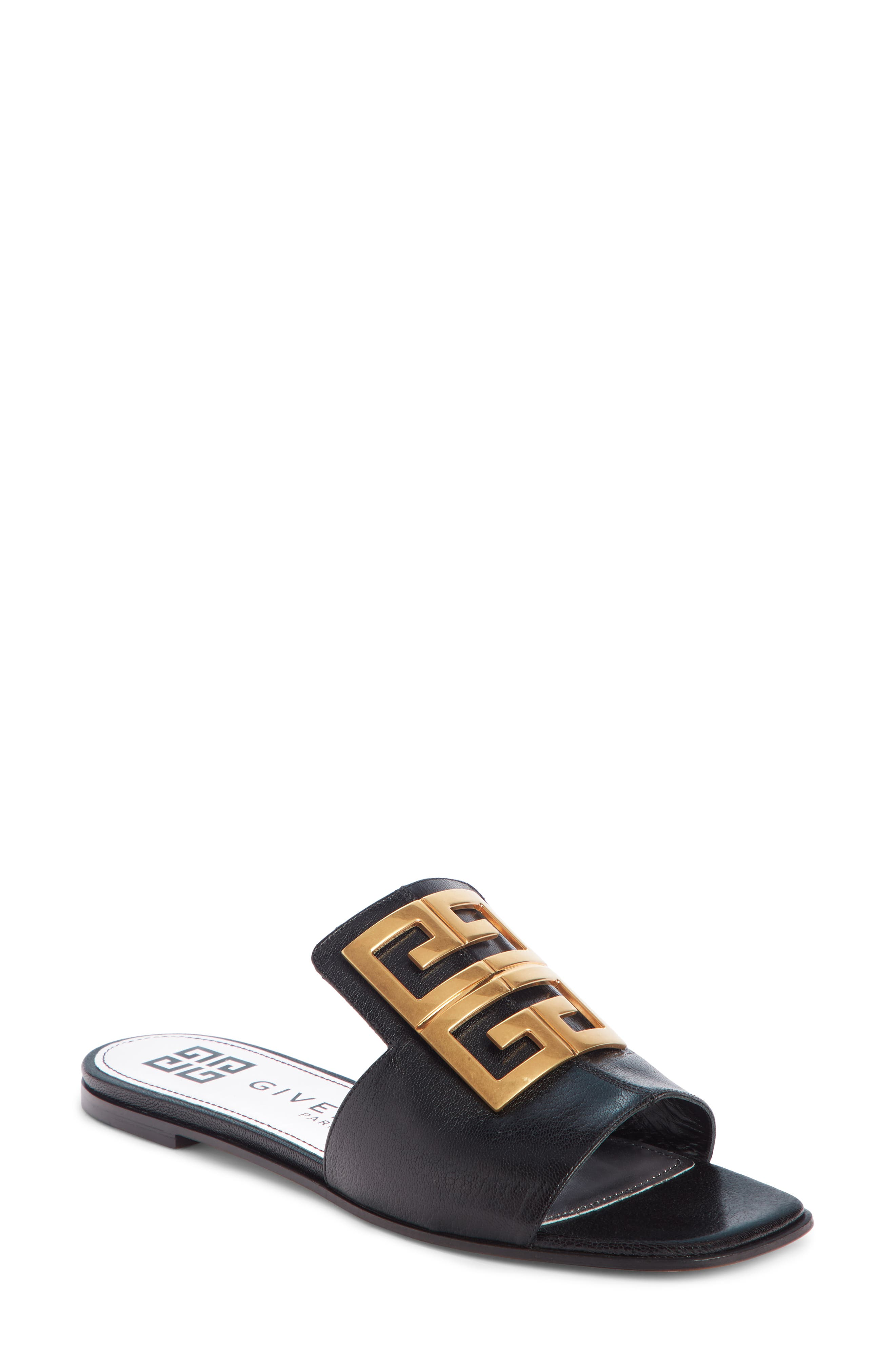 The classic 4G emblem makes a comeback, brilliantly highlighting the extended topline of this chic slide sandal. Style Name: Givenchy 4G Logo Slide Sandal (Women). Style Number: 5855790. Available in stores.
