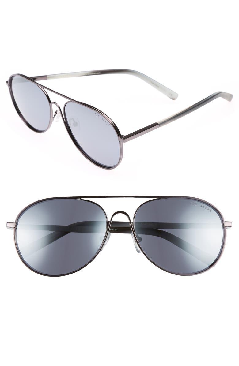 TED BAKER LONDON 59mm Aviator Sunglasses, Main, color, 012