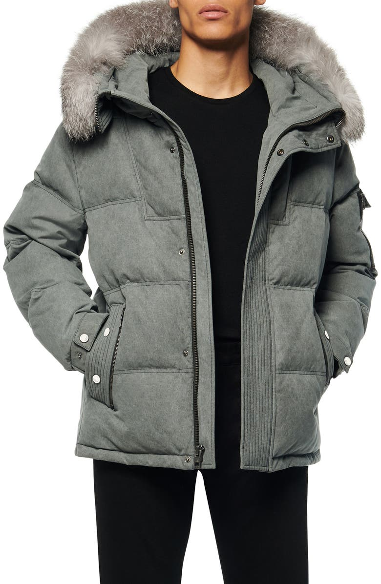 ANDREW MARC Koriabo Down Jacket with Removable Genuine Fox Fur Trim, Main, color, BLACK