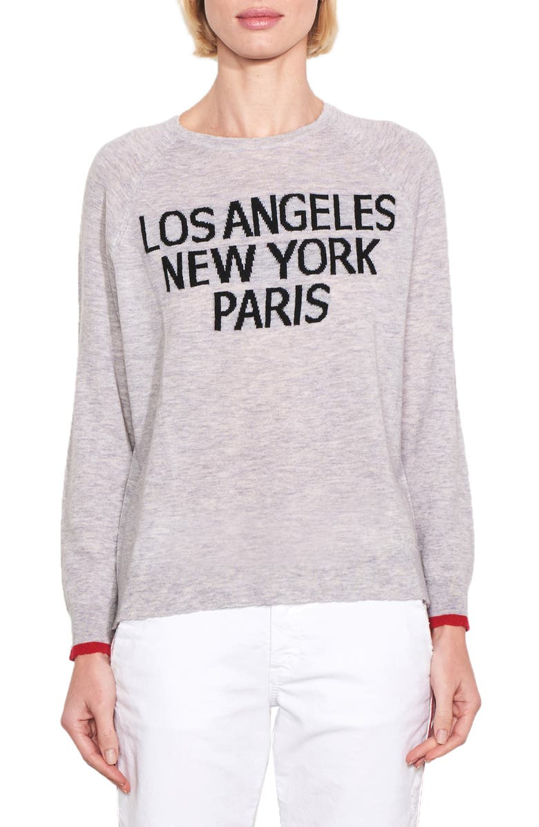 SUNDRY Los Angeles/New York/Paris Wool & Cashmere Sweater, Main, color, HEATHER GREY