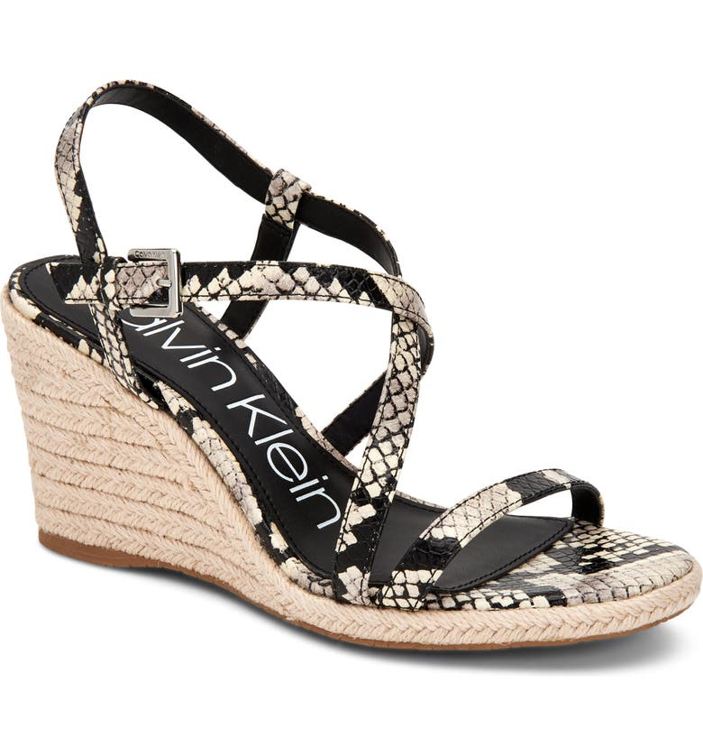 CALVIN KLEIN Bellemine Espadrille Wedge Sandal, Main, color, SNAKE PRINT LEATHER