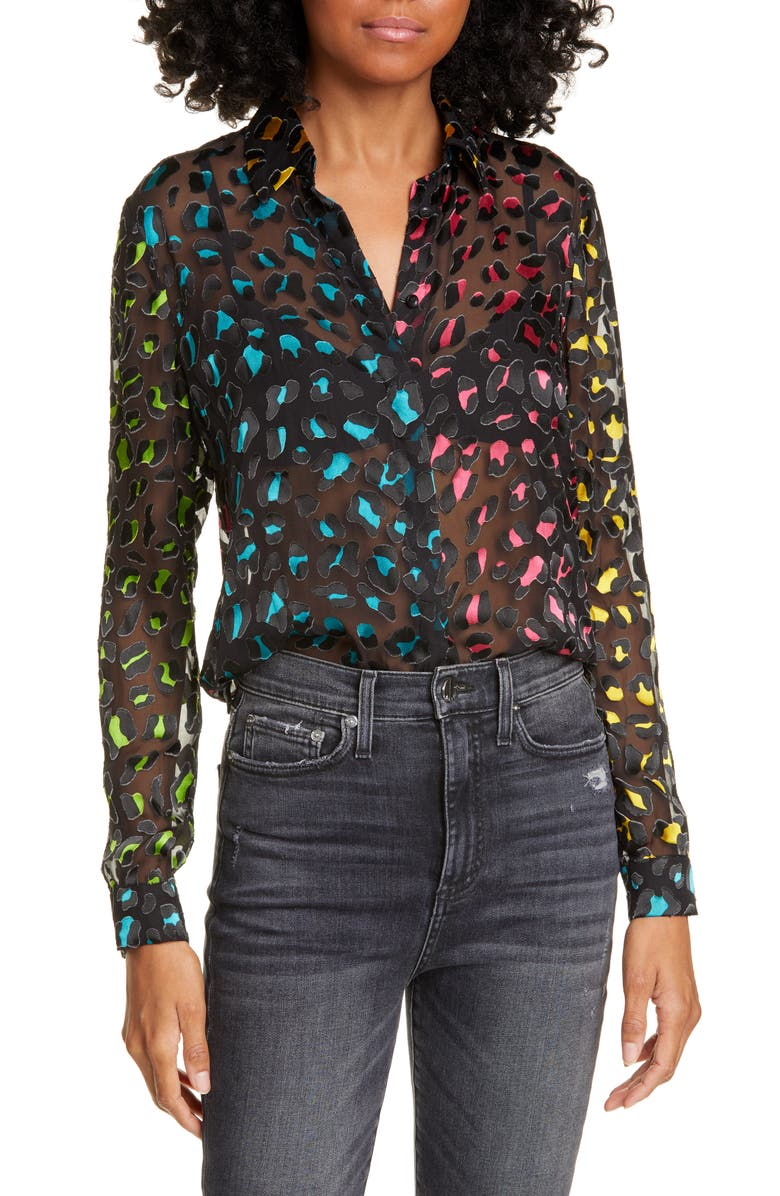 ALICE + OLIVIA Willa Abstract Leopard Print Burnout Silk Blend Blouse, Main, color, ABSTRACT LEOPARD TEAL/ COMBO
