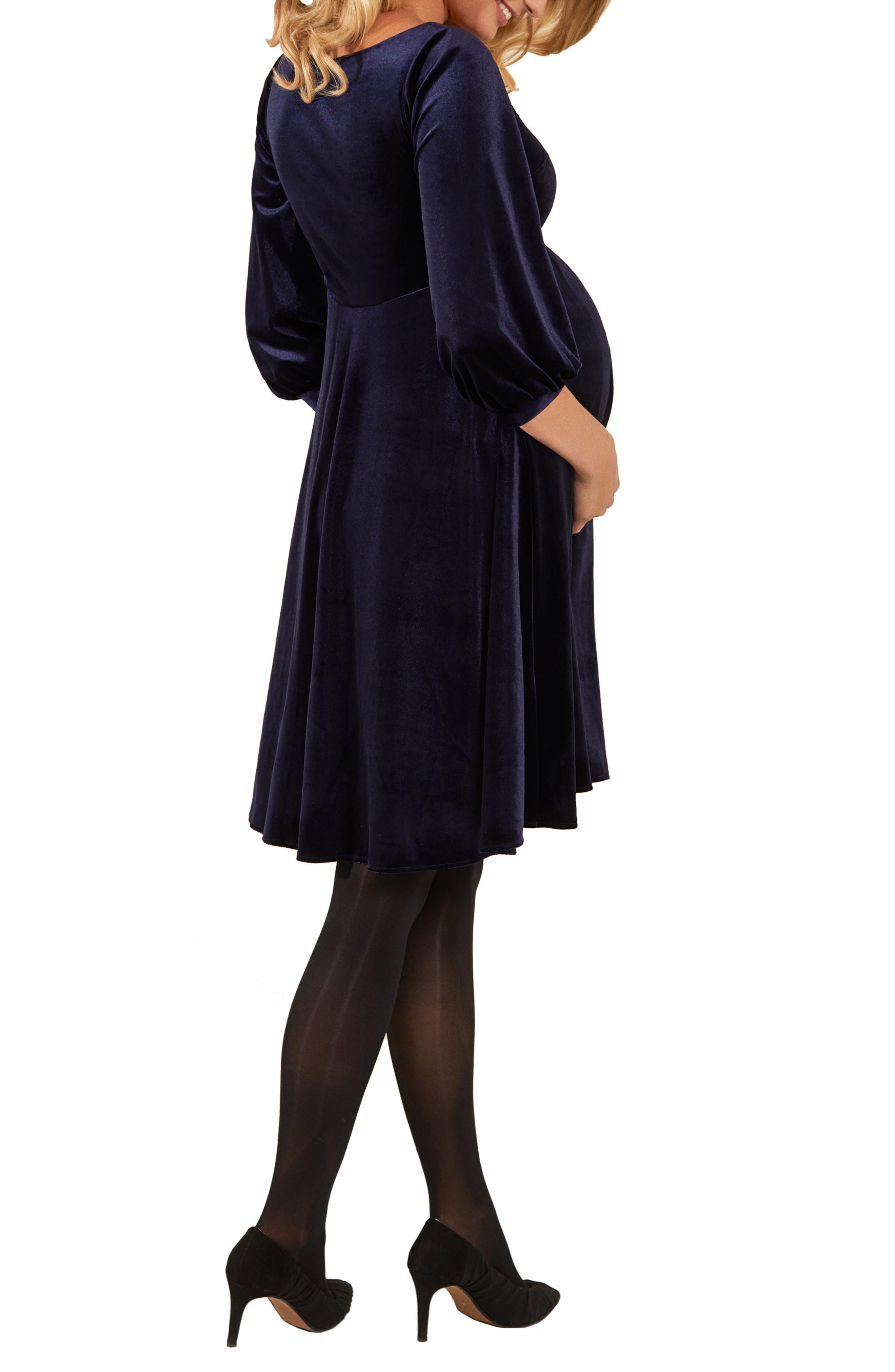 Tiffany Rose Roxie Velvet Maternity Dress, Blue