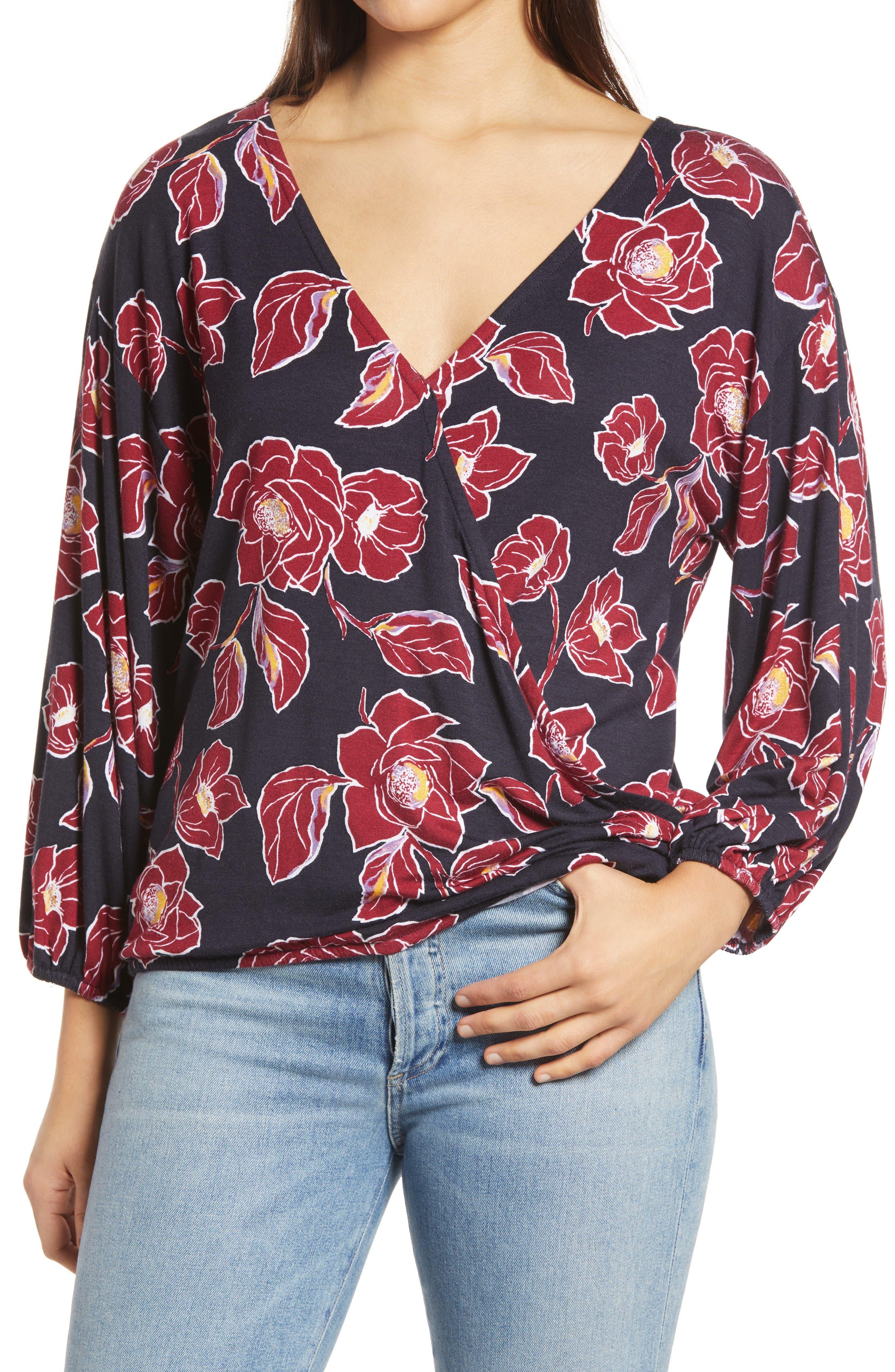 Floral Print Double Surplice Knit Top