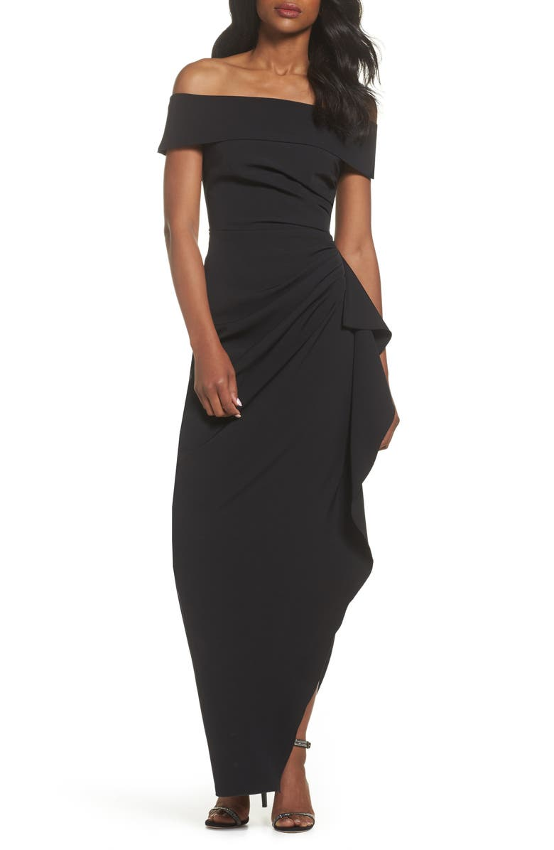 VINCE CAMUTO Off the Shoulder Crepe Gown, Main, color, BLACK
