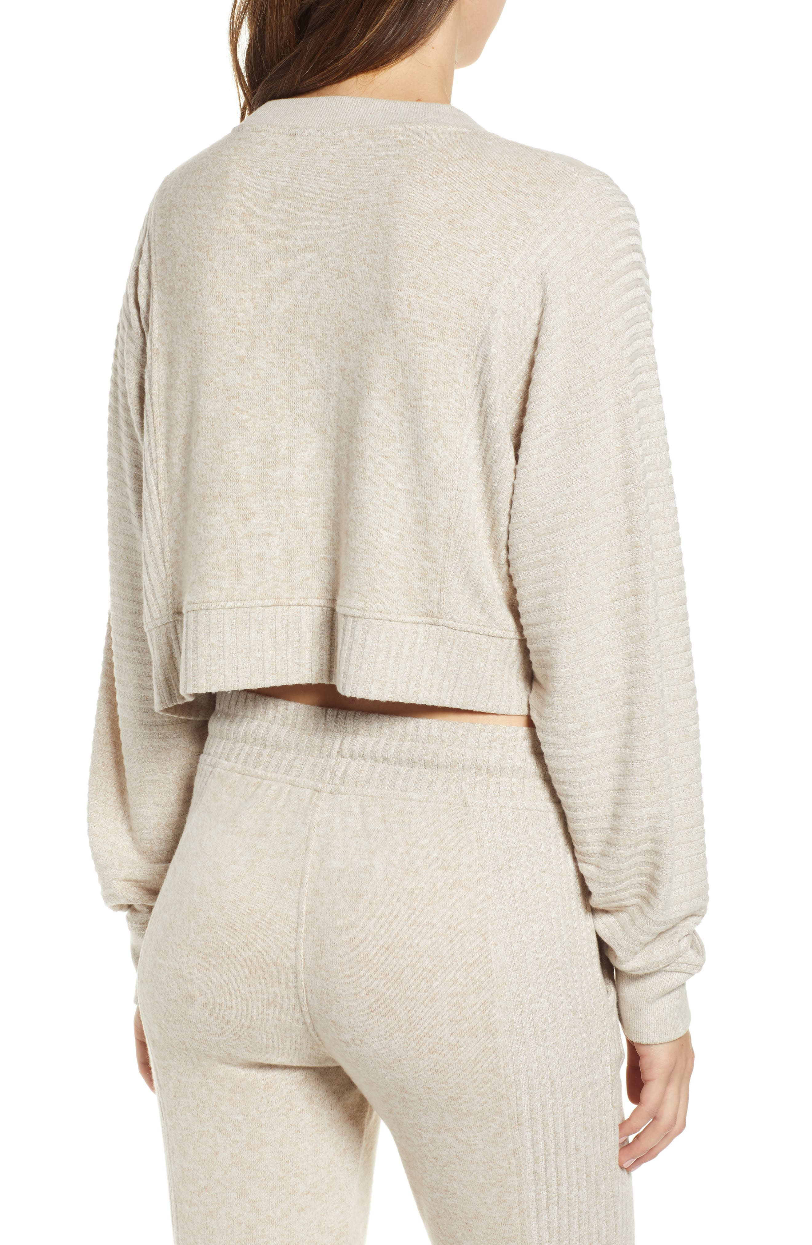 ,                             Contrast Rib Crop Lounge Sweatshirt,                             Alternate thumbnail 2, color,                             BRAZILIAN SAND
