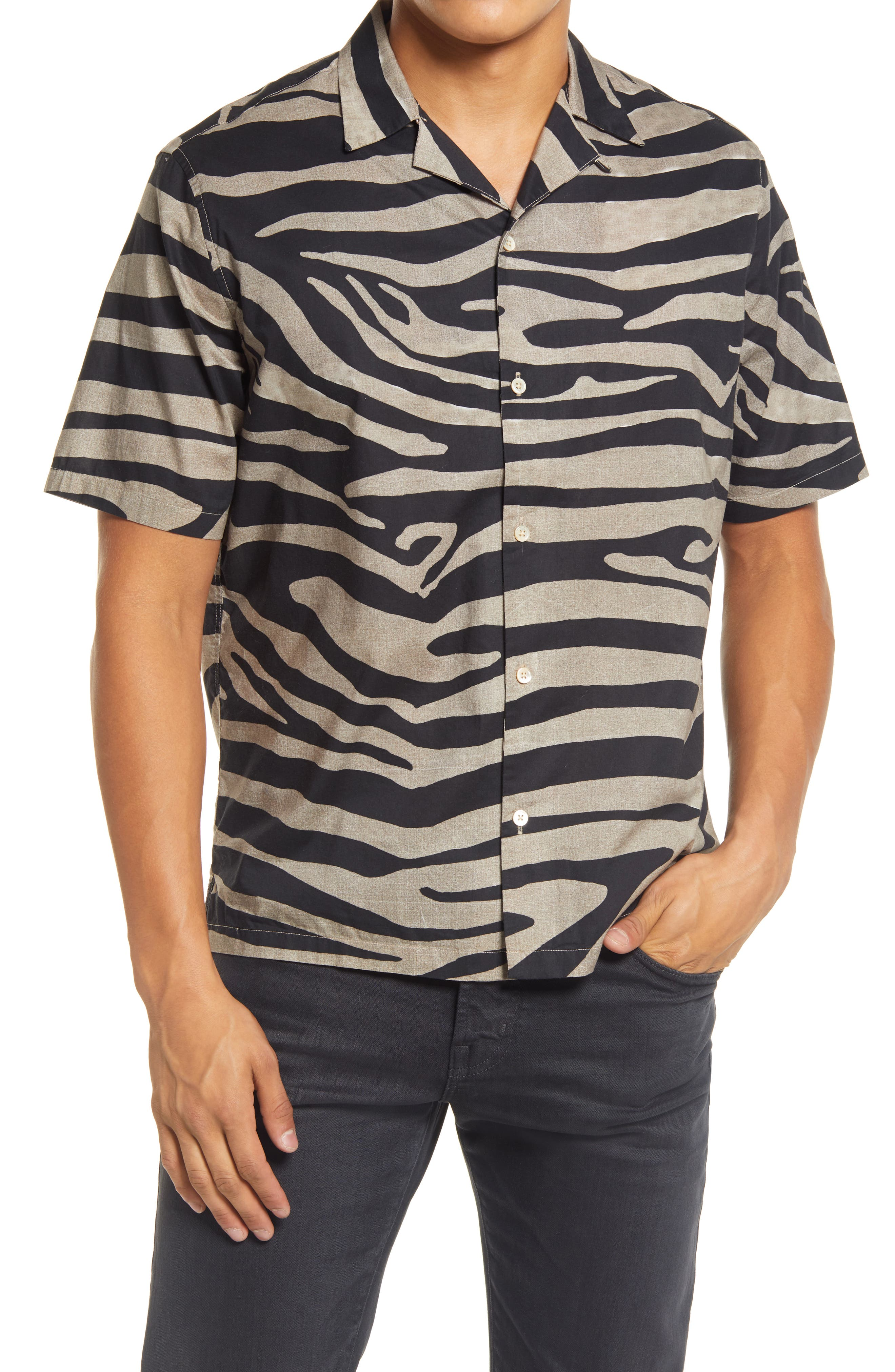 1980s Clothing, Fashion | 80s Style Clothes Mens Allsaints Equus Relaxed Fit Zebra Print Short Sleeve Button-Up Camp Shirt $139.00 AT vintagedancer.com