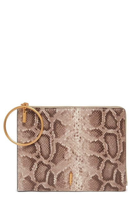Image of THACKER Gable Snake Embossed Leather Clutch