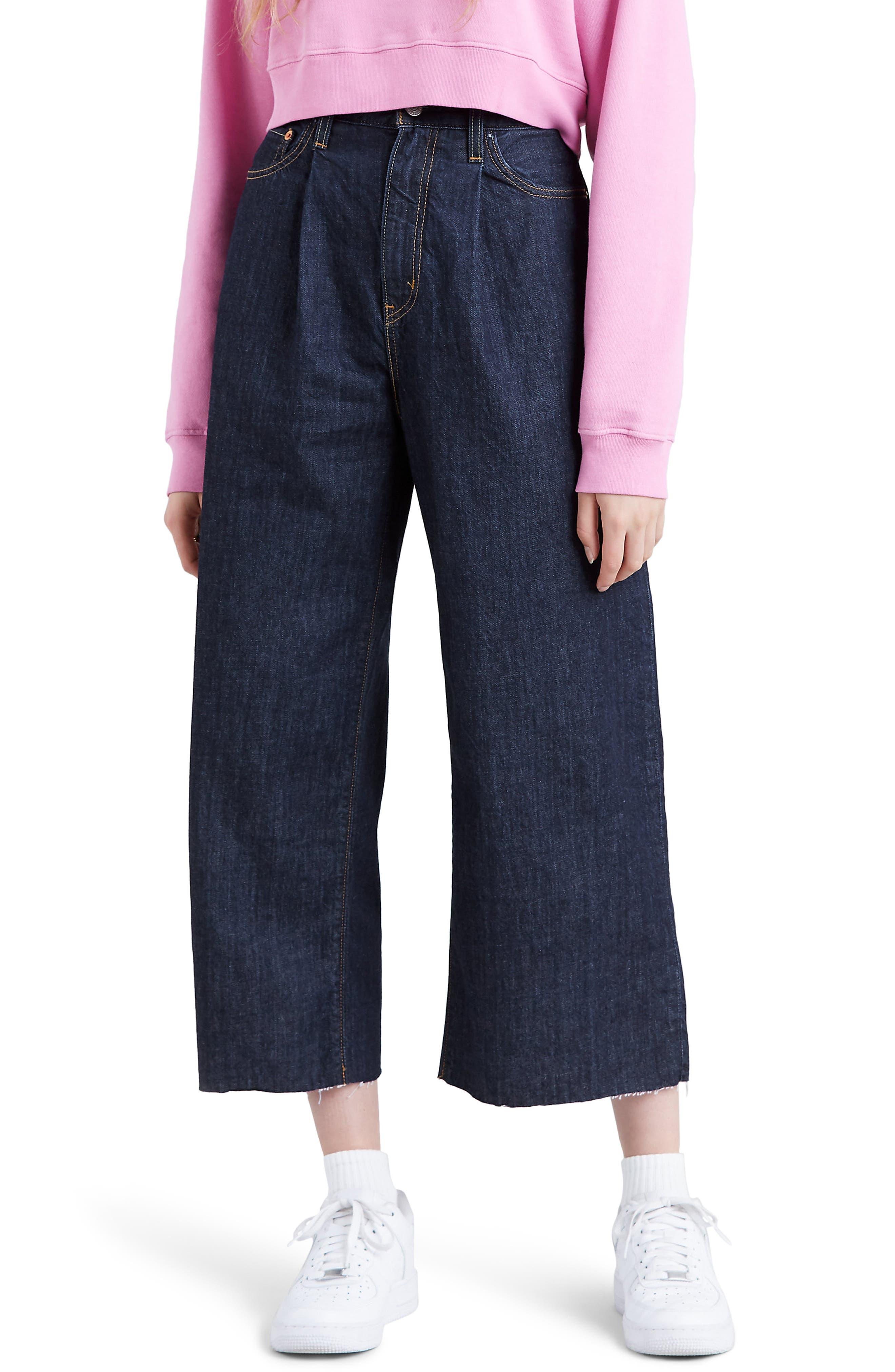 Ribcage Super High Waist Crop Wide Leg Jeans, Main, color, 420