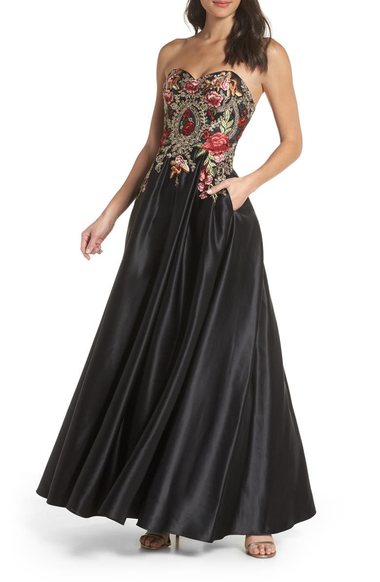 ed052a87f53 Embroidered Appliqué Strapless Ballgown, Main, color, BLACK/ MULTI