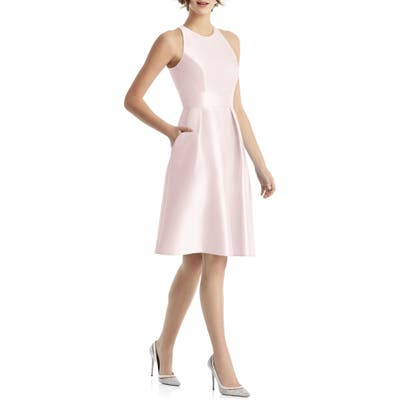 Alfred Sung High Neck Satin Cocktail Dress, Pink