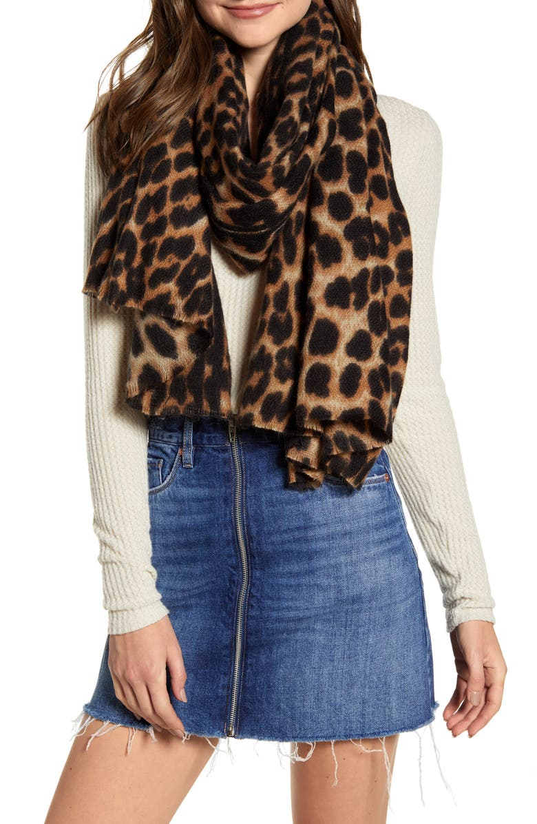 SOLE SOCIETY Leopard Print Blanket Scarf, Main, color, BROWN COMBO