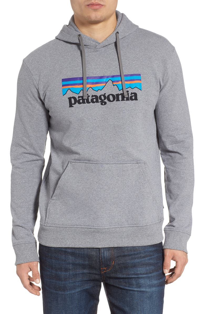 PATAGONIA P6 Logo Uprisal Hooded Sweatshirt, Main, color, GRAVEL HEATHER