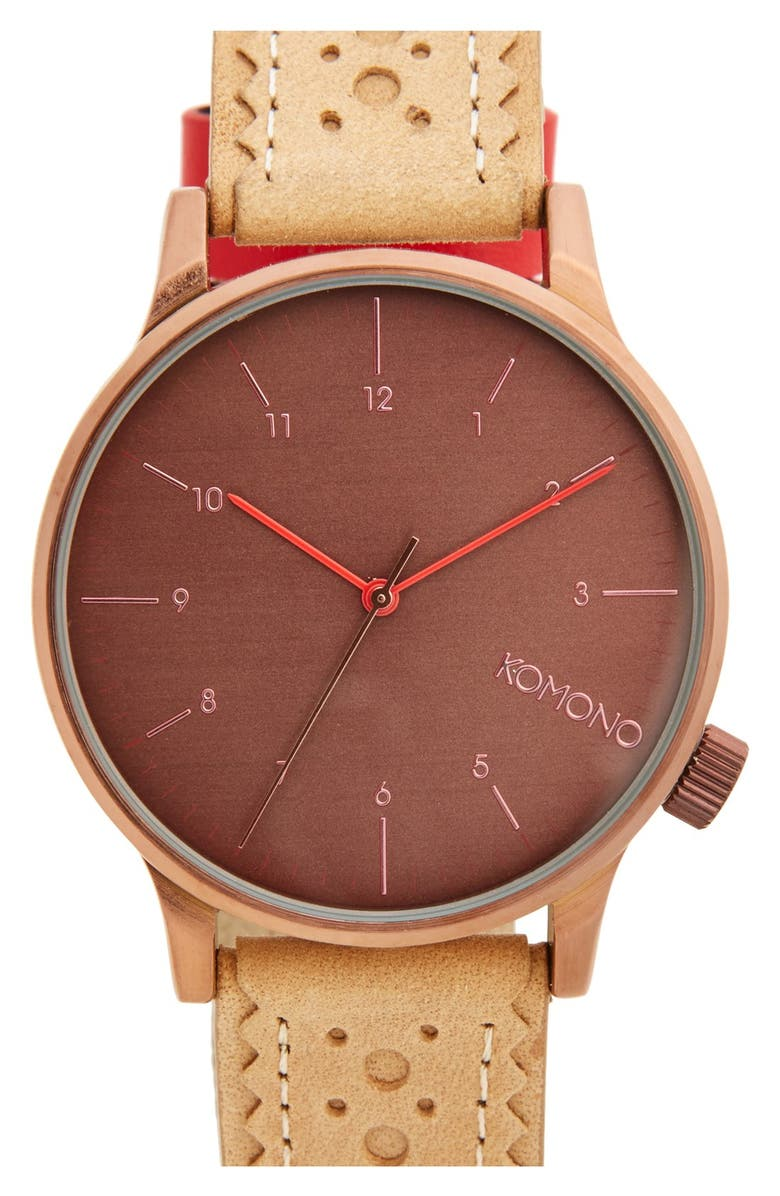 a905f12d0 Komono 'Winston' Round Dial Brogue Leather Strap Watch, 41mm | Nordstrom
