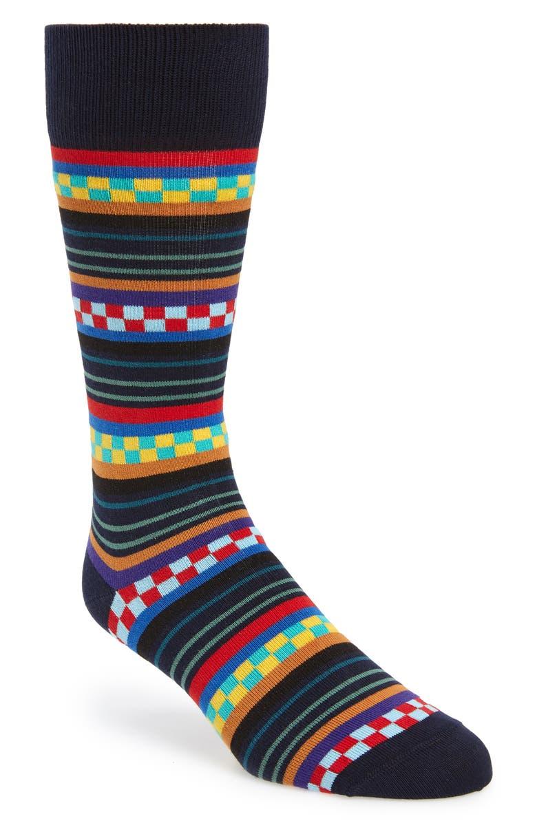 PAUL SMITH Reggie Stripe Socks, Main, color, BLACK MULTI