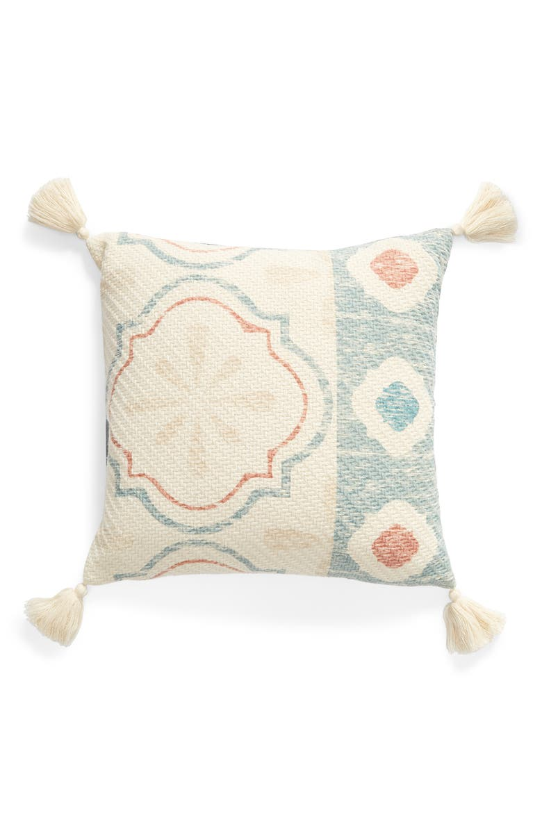 LEVTEX Rose Garden Tassel Accent Pillow, Main, color, MULTI BEIGE
