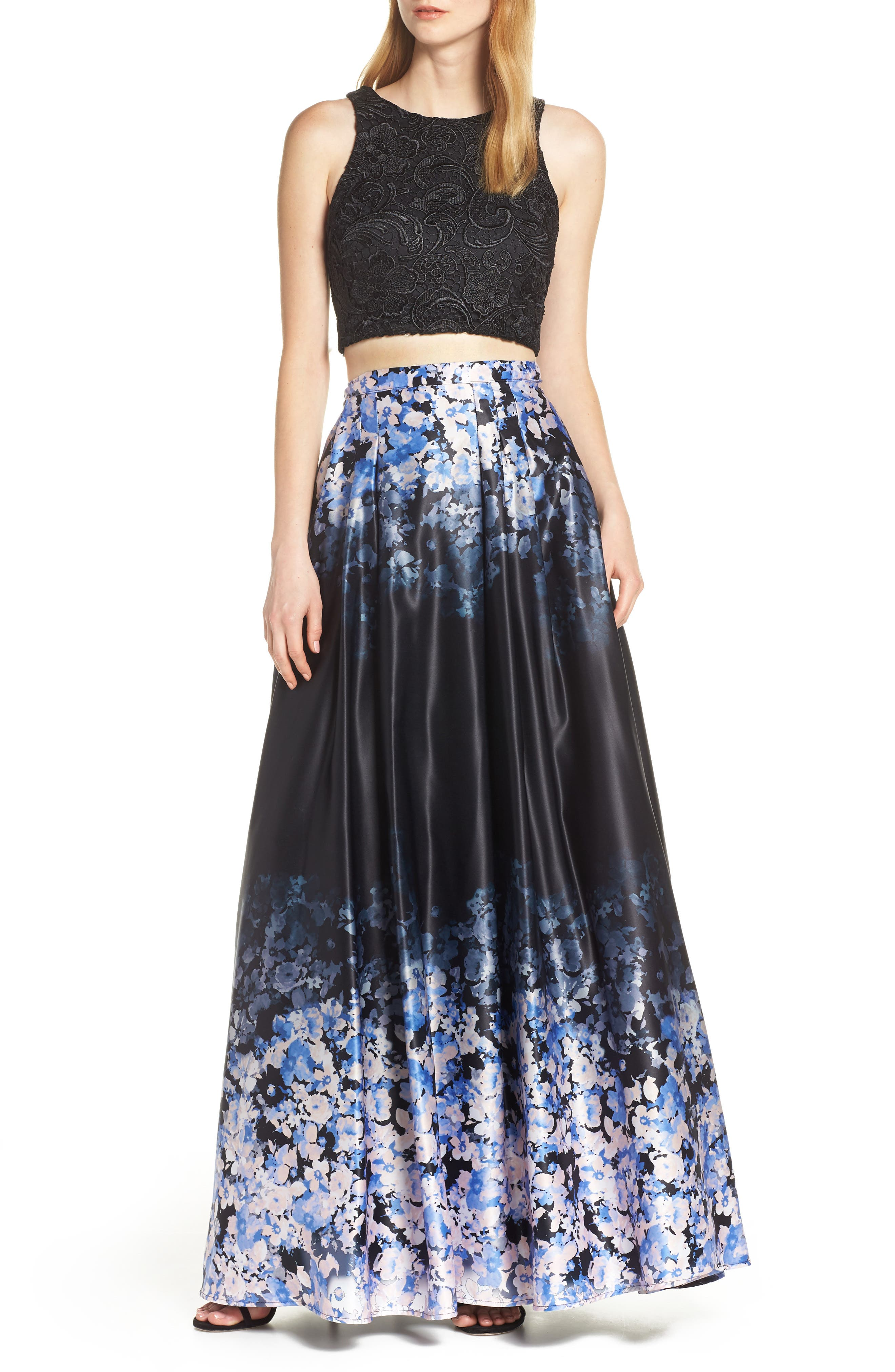 Sequin Hearts Satin & Lace Two-Piece Evening Dress, Black