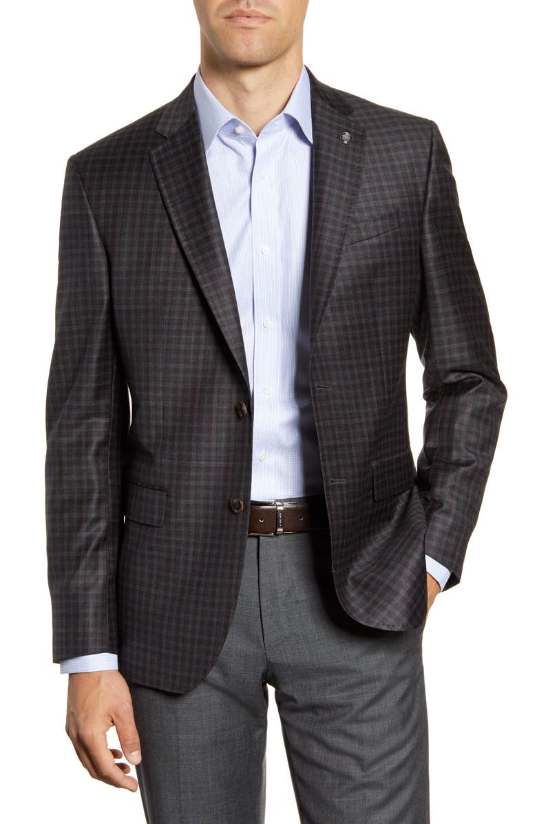 TED BAKER LONDON Jay Trim Fit Check Wool Sport Coat, Main, color, GREY