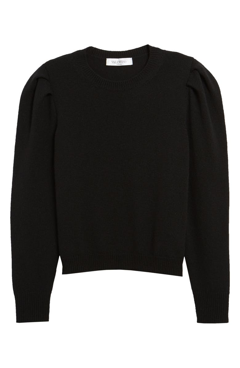 VALENTINO Leg of Mutton Sleeve Cashmere Sweater, Main, color, 001