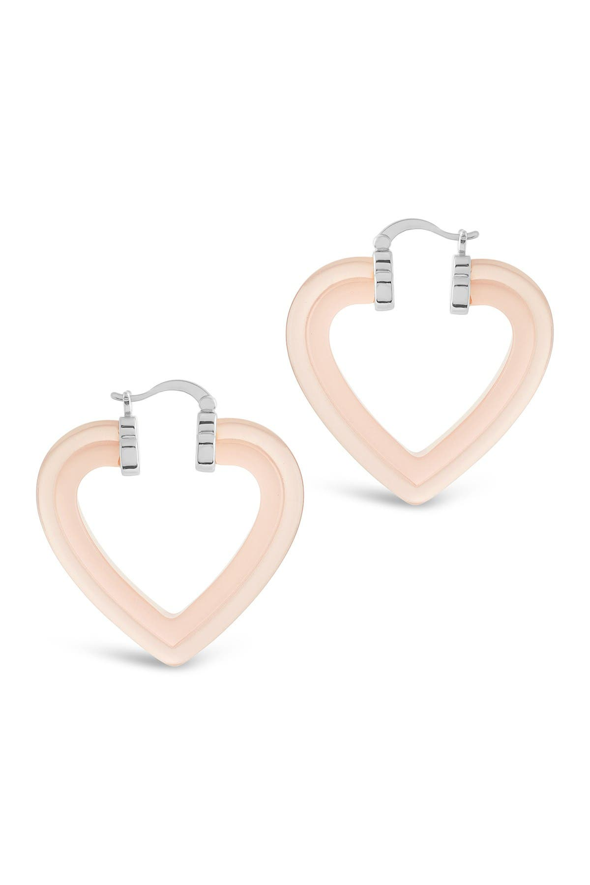 Sterling Forever Rhodium Plated Peach Lucite Heart Drop Earrings