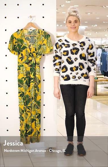 Tropical Palm Print Wrap Jumpsuit, sales video thumbnail