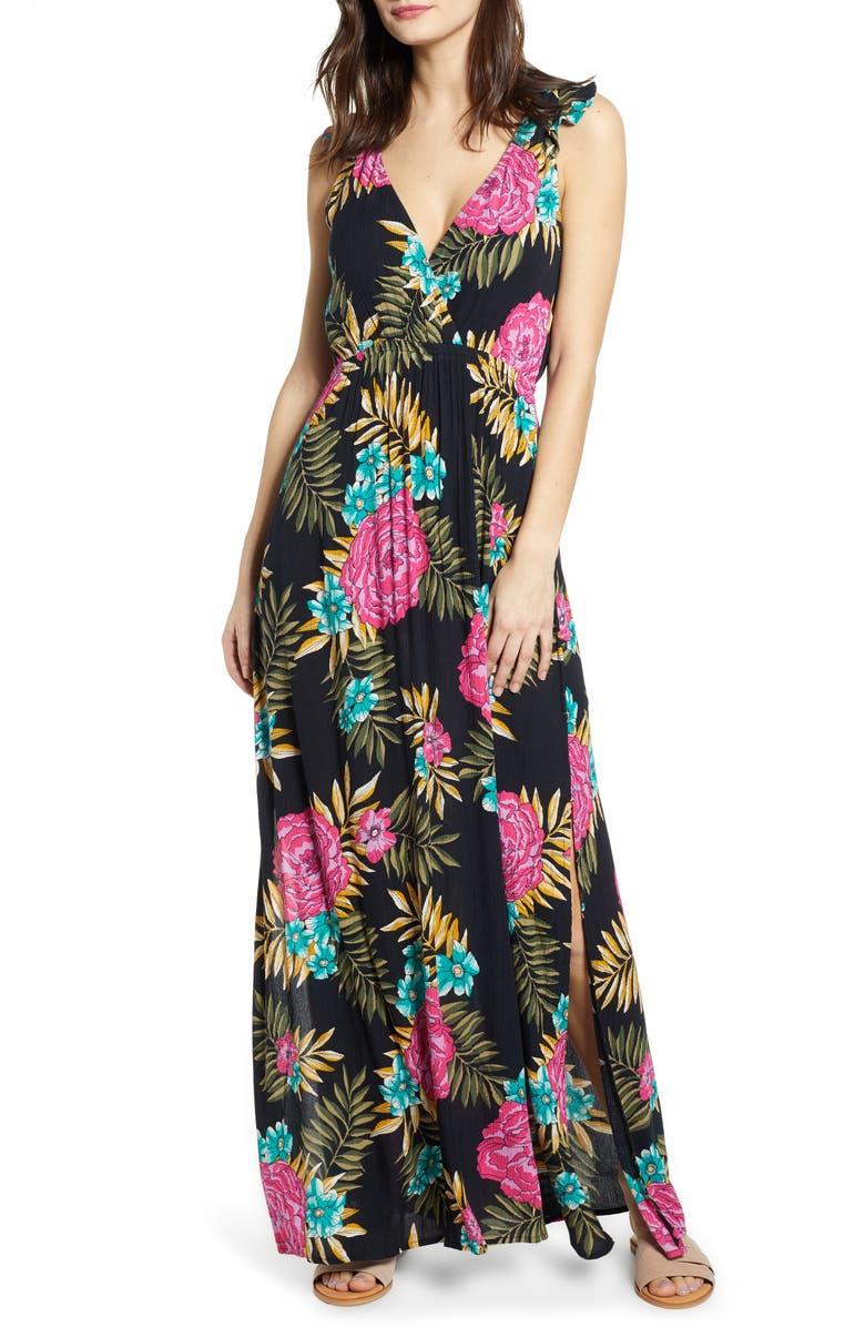 BILLABONG Wind Flutter Maxi Dress, Main, color, BLACK