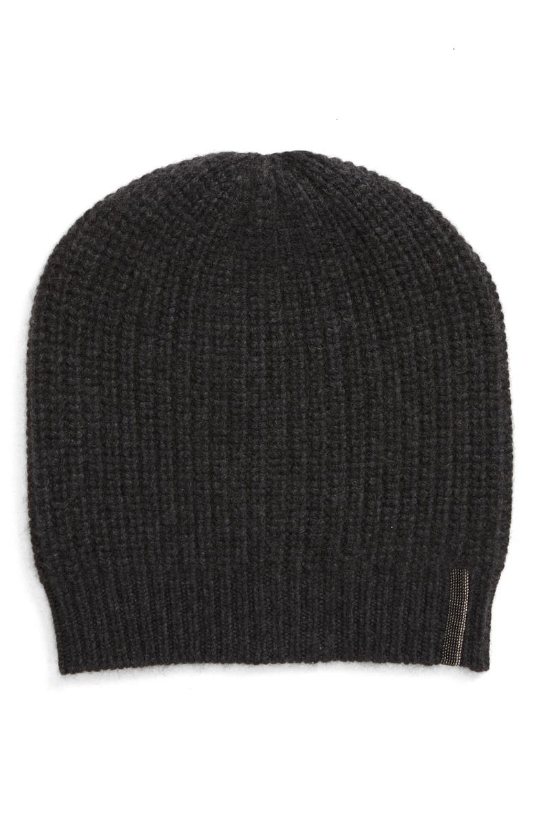 BRUNELLO CUCINELLI Cashmere Rib Beanie, Main, color, 020