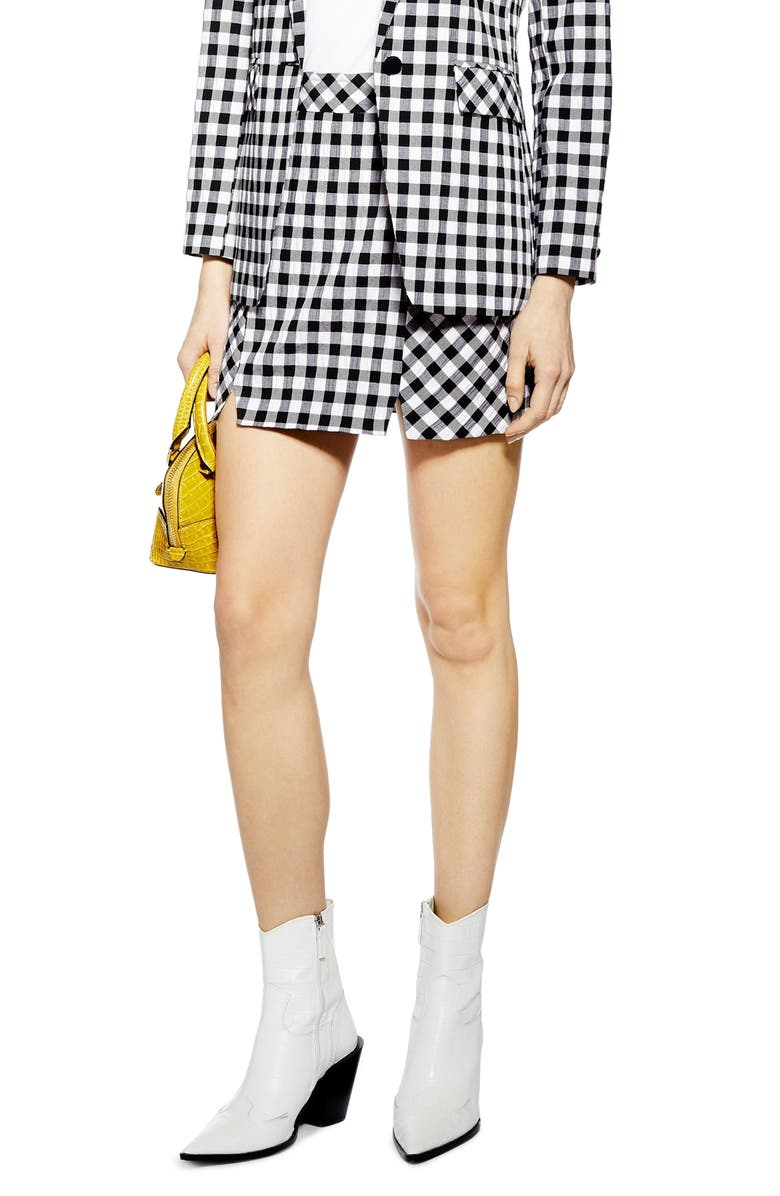 TOPSHOP Gingham Miniskirt, Main, color, 002