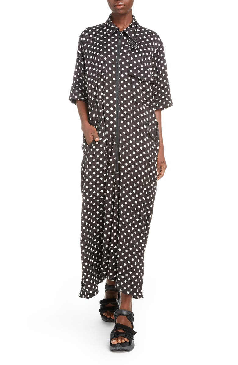 Y'S BY YOHJI YAMAMOTO Polka Dot Maxi Shirtdress, Main, color, 001