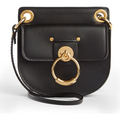 Chloe Mini Tess Leather Crossbody Bag - Black