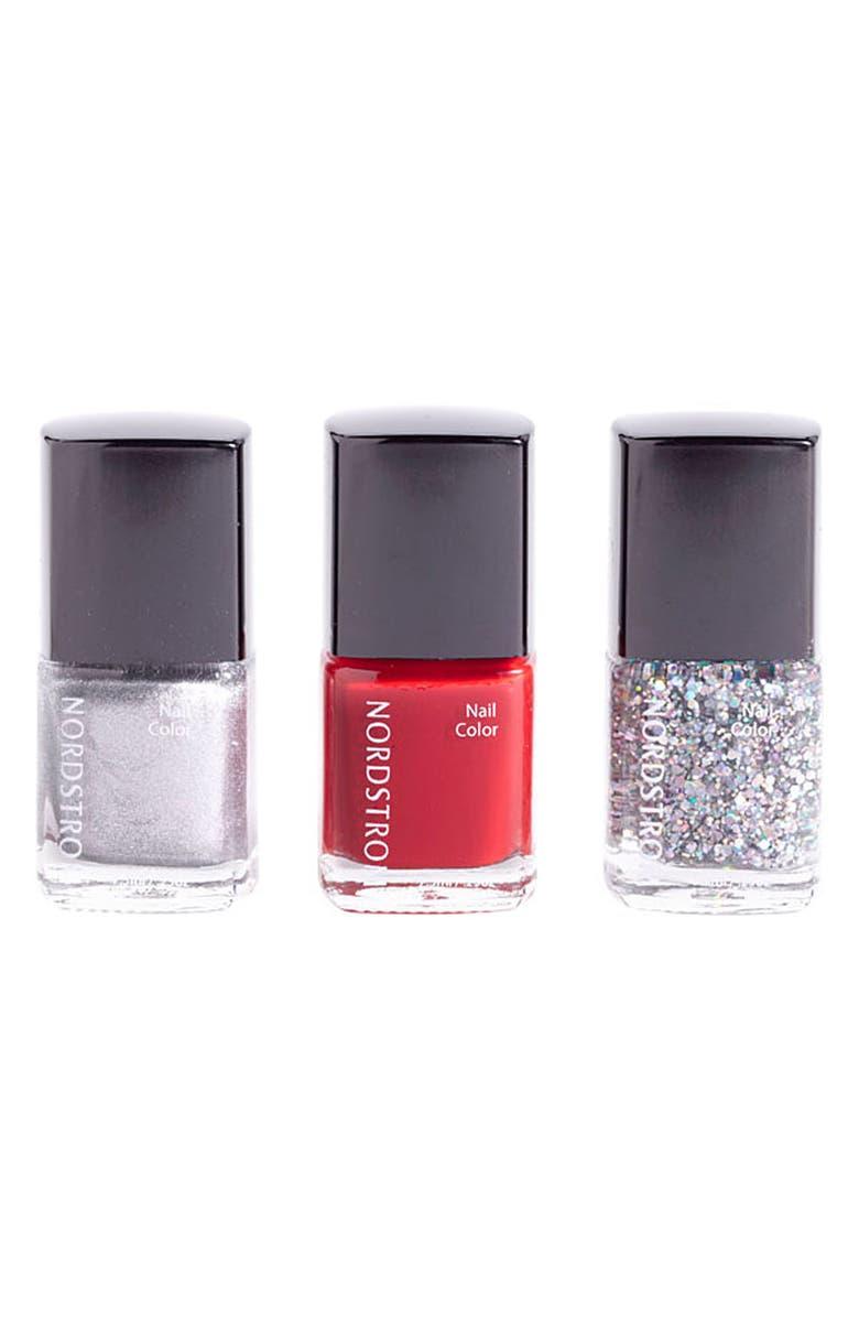 NORDSTROM 'Red Sparkle' Mini Nail Lacquer Trio, Main, color, 960