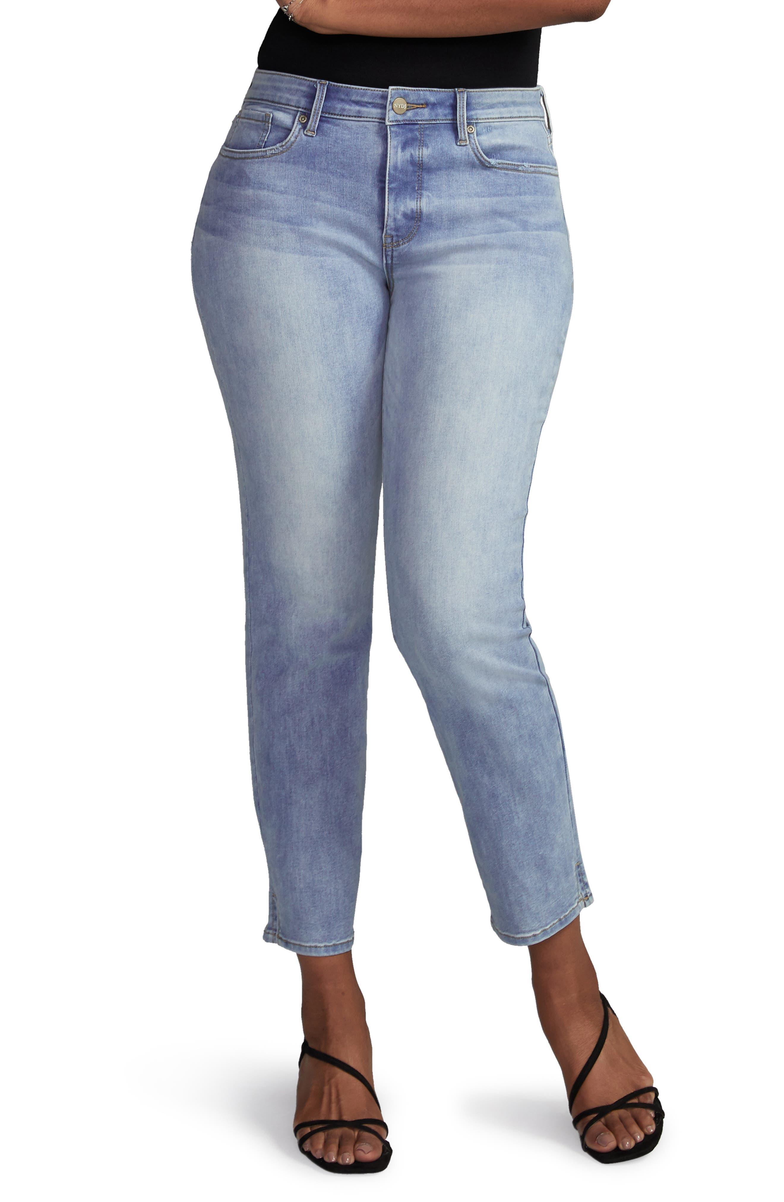 Side Slit Slim Straight Jeans