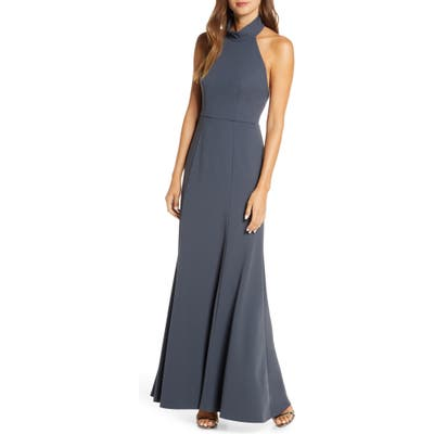 Jenny Yoo Petra Halter Crepe Evening Dress, Grey