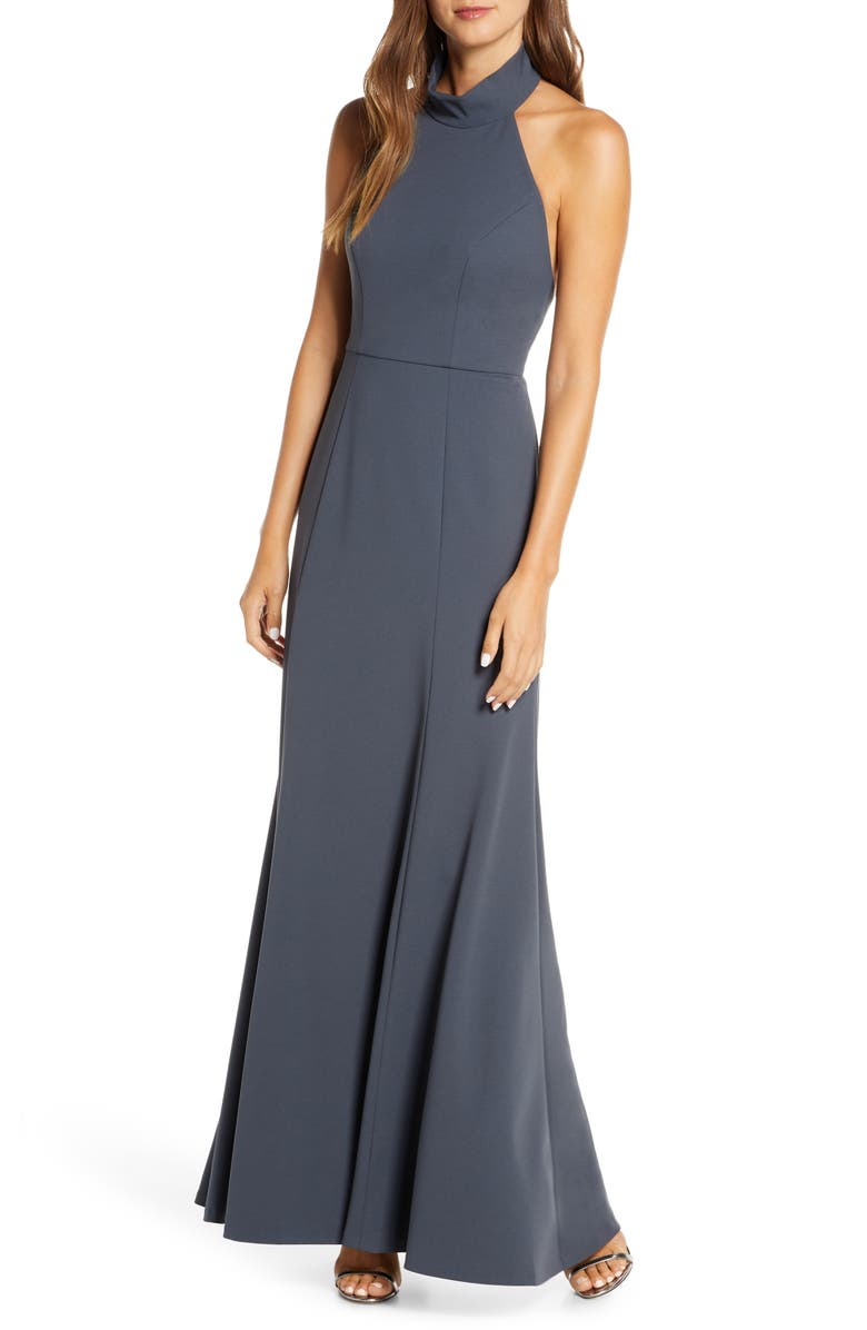 JENNY YOO Petra Halter Crepe Evening Dress, Main, color, STORM