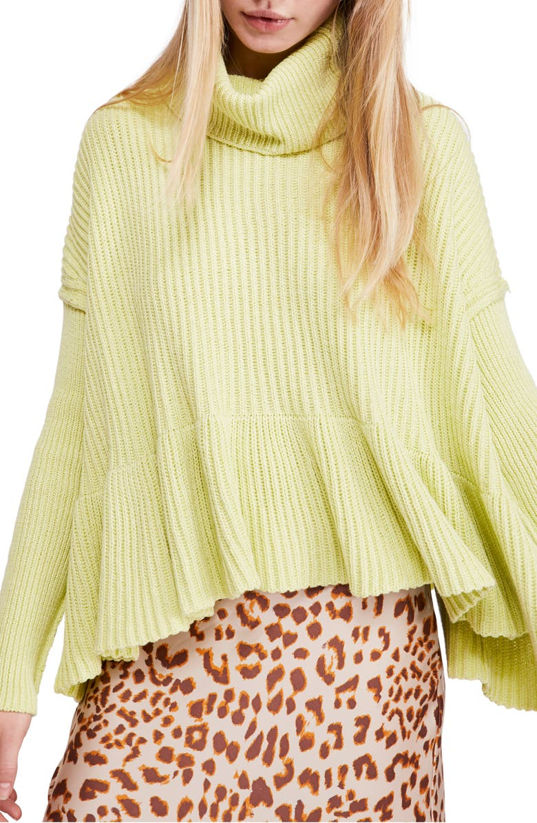 FREE PEOPLE Layer Cake Turtleneck Sweater, Main, color, LIME